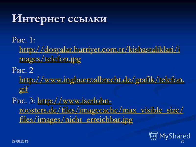 29.06.2013 23 Интернет ссылки Рис. 1: http://dosyalar.hurriyet.com.tr/kishastaliklari/i mages/telefon.jpg http://dosyalar.hurriyet.com.tr/kishastaliklari/i mages/telefon.jpg http://dosyalar.hurriyet.com.tr/kishastaliklari/i mages/telefon.jpg Рис. 2 h
