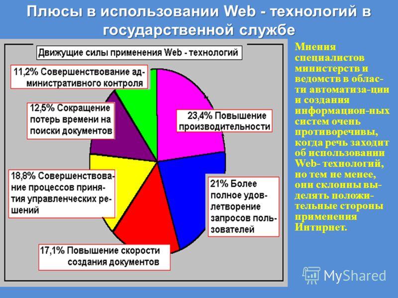 Плюсы в использовании Web - технологий в государственной службе Мнения специалистов министерств и ведомств в облас- ти автоматиза-ции и создания информацион-ных систем очень противоречивы, когда речь заходит об использовании Web- технологий, но тем н
