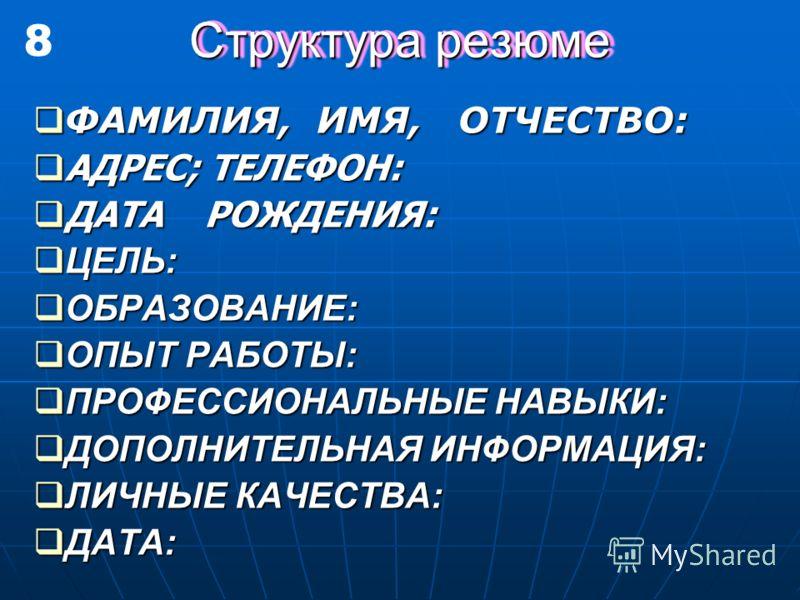 Структура резюме ФАМИЛИЯ, ИМЯ, ОТЧЕСТВО: ФАМИЛИЯ, ИМЯ, ОТЧЕСТВО: АДРЕС; ТЕЛЕФОН: АДРЕС; ТЕЛЕФОН: ДАТА РОЖДЕНИЯ: ДАТА РОЖДЕНИЯ: ЦЕЛЬ: ЦЕЛЬ: ОБРАЗОВАНИЕ: ОБРАЗОВАНИЕ: ОПЫТ РАБОТЫ: ОПЫТ РАБОТЫ: ПРОФЕССИОНАЛЬНЫЕ НАВЫКИ: ПРОФЕССИОНАЛЬНЫЕ НАВЫКИ: ДОПОЛНИТЕ