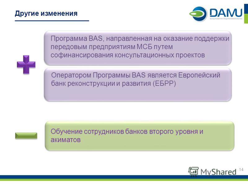 Другие изменения Обучение сотрудников банков второго уровня и акиматов 14 Оператором Программы BAS является Европейский банк реконструкции и развития (ЕБРР) Программа BAS, направленная на оказание поддержки передовым предприятиям МСБ путем софинансир