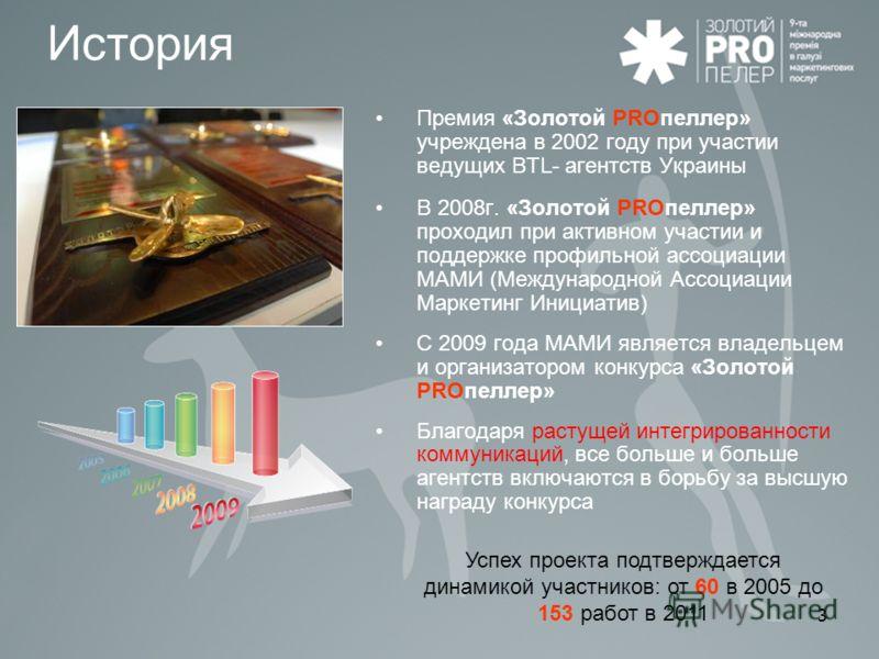 3 История Премия «Золотой PROпеллер» учреждена в 2002 году при участии ведущих BTL- агентств Украины В 2008г. «Золотой PROпеллер» проходил при активном участии и поддержке профильной ассоциации МАМИ (Международной Ассоциации Маркетинг Инициатив) С 20