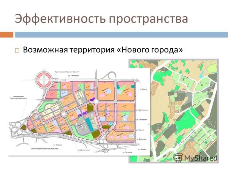 Эффективность пространства Возможная территория « Нового города »
