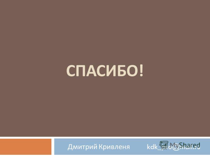 СПАСИБО ! Дмитрий Кривленя kdk_pro@mail.ru