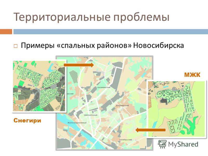 Территориальные проблемы Примеры « спальных районов » Новосибирска Снегири МЖК