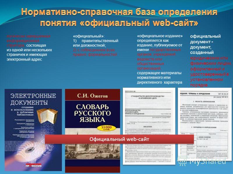 логически завершенная информационная структура, состоящая из одной или нескольких страничек и имеющая электронный адрес «официальный»: 1)правительственный или должностной; 2) с соблюдением всех правил, формальностей официальный документ - документ, с