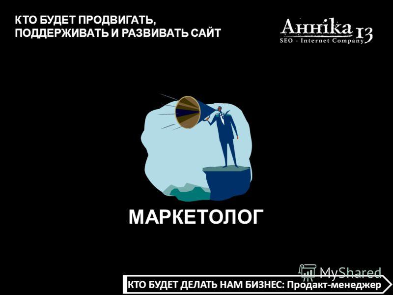 КТО БУДЕТ ДЕЛАТЬ НАМ БИЗНЕС: Продакт-менеджер МАРКЕТОЛОГ КТО БУДЕТ ПРОДВИГАТЬ, ПОДДЕРЖИВАТЬ И РАЗВИВАТЬ САЙТ