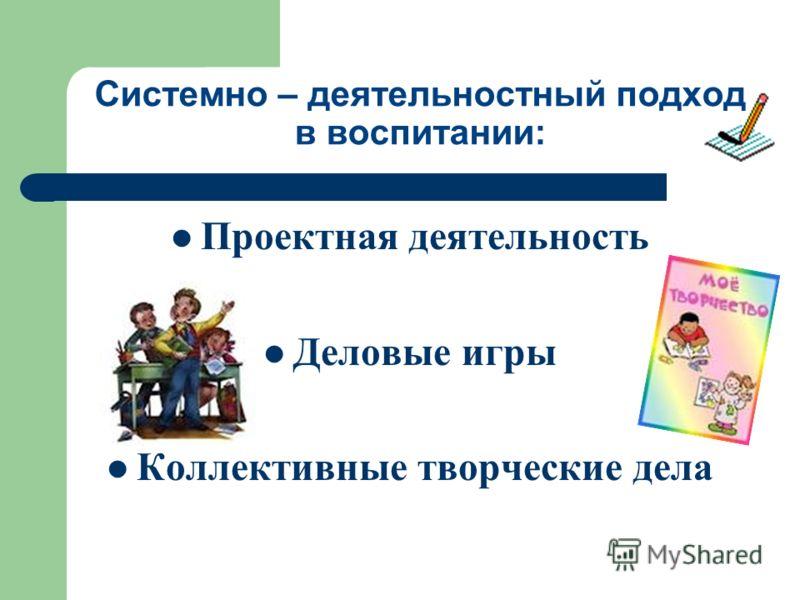 Системно – деятельностный подход в воспитании: Проектная деятельность Деловые игры Коллективные творческие дела