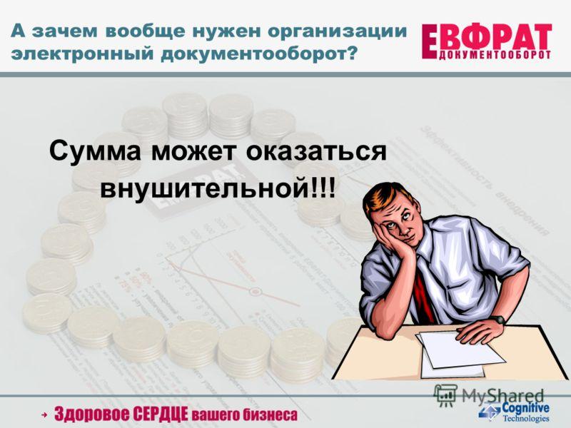 2005 Cognitive Technologies Ltd. А зачем вообще нужен организации электронный документооборот? Сумма может оказаться внушительной!!!