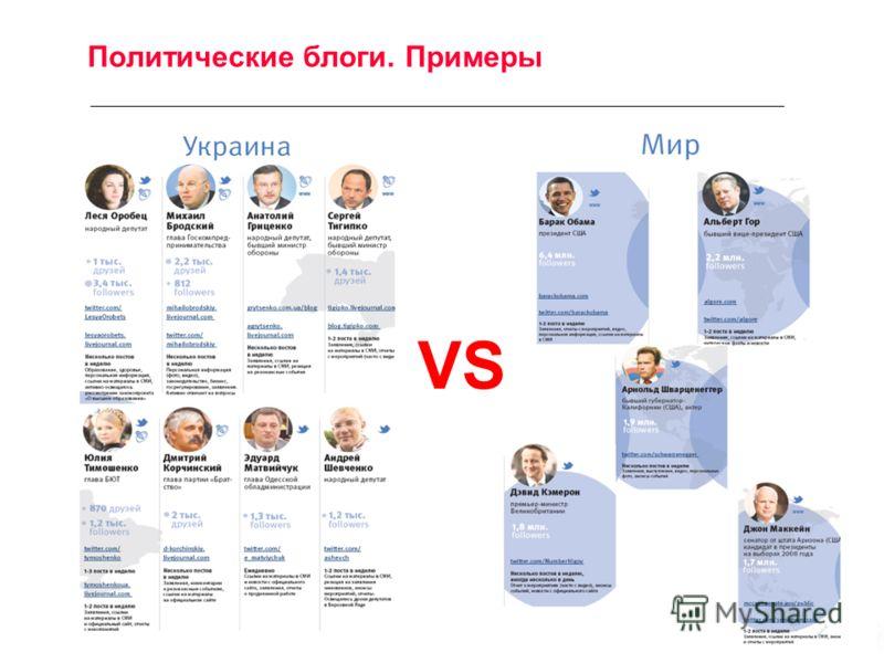 Политические блоги. Примеры VS