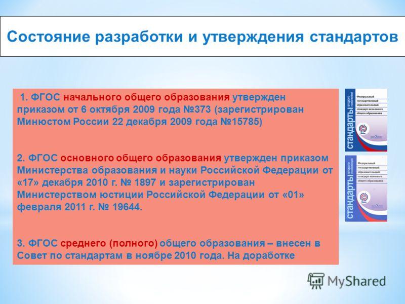 Состояние разработки и утверждения стандартов 1. ФГОС начального общего образования утвержден приказом от 6 октября 2009 года 373 (зарегистрирован Минюстом России 22 декабря 2009 года 15785) 2. ФГОС основного общего образования утвержден приказом Мин