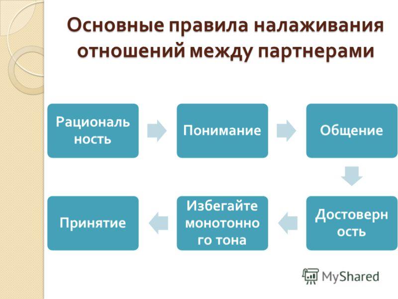 Основные правила налаживания отношений между партнерами