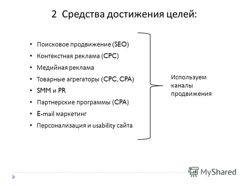 2 Средства достижения целей : Поисковое продвижение (SEO) Контекстная реклама (CPC) Медийная реклама Товарные агрегаторы (CPC, CPA) SMM и PR Партнерские программы (CPA) E-mail маркетинг Персонализация и usability сайта Используем каналы продвижения