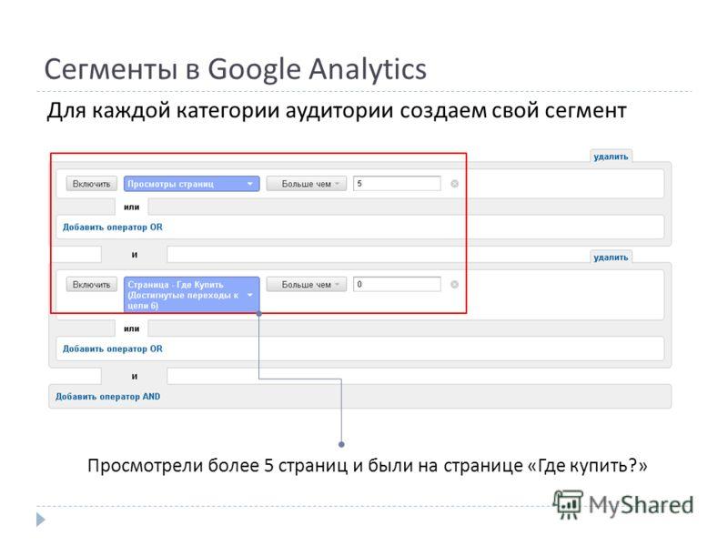 Сегменты в Google Analytics Для каждой категории аудитории создаем свой сегмент Просмотрели более 5 страниц и были на странице « Где купить ?»