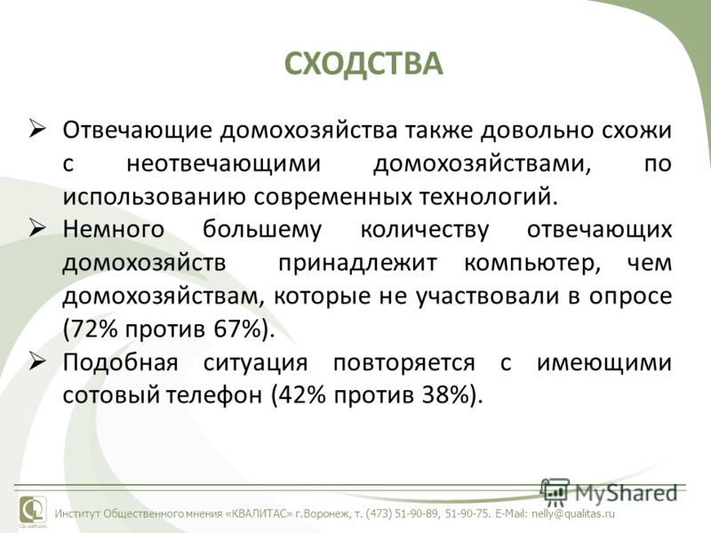 Институт Общественного мнения «КВАЛИТАС» г.Воронеж, т. (473) 51-90-89, 51-90-75. E-Mail: nelly@qualitas.ru СХОДСТВА Отвечающие домохозяйства также довольно схожи с неотвечающими домохозяйствами, по использованию современных технологий. Немного больше