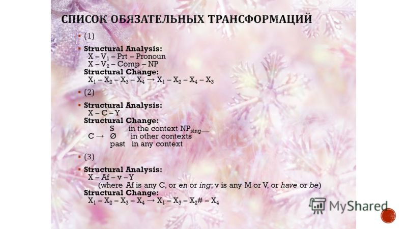 (1) Structural Analysis: X – V 1 – Prt – Pronoun X – V 2 – Comp – NP Structural Change: X 1 – X 2 – X 3 – X 4 X 1 – X 2 – X 4 – X 3 (2) Structural Analysis: X – C – Y Structural Change: S in the context NP sing __ C Ø in other contexts past in any co