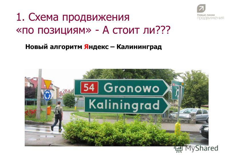 1. Схема продвижения «по позициям» - А стоит ли??? Новый алгоритм Яндекс – Калининград