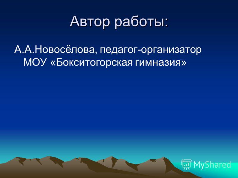 Автор работы: А.А.Новосёлова, педагог-организатор МОУ «Бокситогорская гимназия»