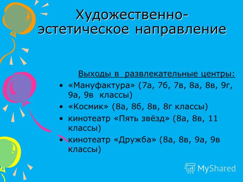 Художественно- эстетическое направление Выходы в развлекательные центры: «Мануфактура» (7а, 7б, 7в, 8а, 8в, 9г, 9а, 9в классы) «Космик» (8а, 8б, 8в, 8г классы) кинотеатр «Пять звёзд» (8а, 8в, 11 классы) кинотеатр «Дружба» (8а, 8в, 9а, 9в классы)