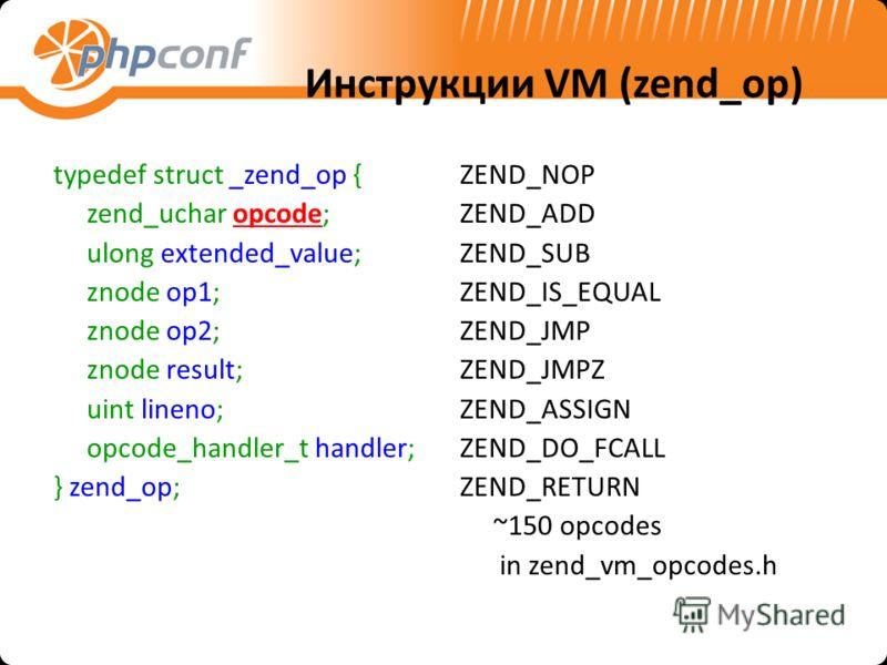 Инструкции VM (zend_op) typedef struct _zend_op { zend_uchar opcode; ulong extended_value; znode op1; znode op2; znode result; uint lineno; opcode_handler_t handler; } zend_op; ZEND_NOP ZEND_ADD ZEND_SUB ZEND_IS_EQUAL ZEND_JMP ZEND_JMPZ ZEND_ASSIGN Z