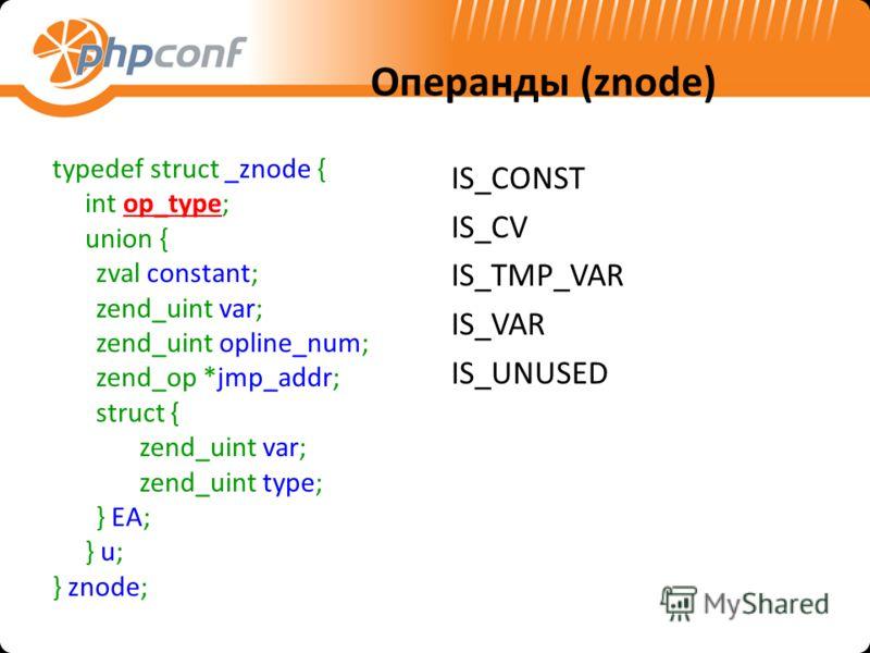 Операнды (znode) typedef struct _znode { int op_type; union { zval constant; zend_uint var; zend_uint opline_num; zend_op *jmp_addr; struct { zend_uint var; zend_uint type; } EA; } u; } znode; IS_CONST IS_CV IS_TMP_VAR IS_VAR IS_UNUSED