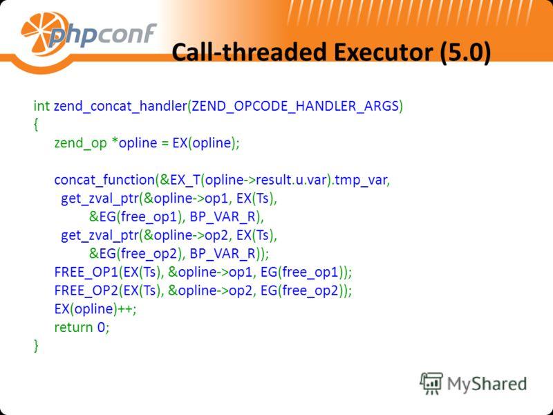 Call-threaded Executor (5.0) int zend_concat_handler(ZEND_OPCODE_HANDLER_ARGS) { zend_op *opline = EX(opline); concat_function(&EX_T(opline->result.u.var).tmp_var, get_zval_ptr(&opline->op1, EX(Ts), &EG(free_op1), BP_VAR_R), get_zval_ptr(&opline->op2