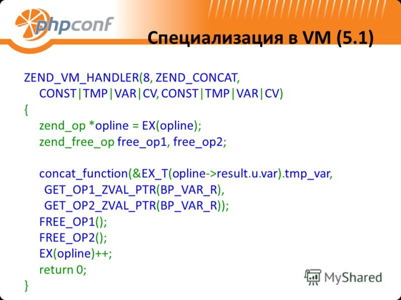 Специализация в VM (5.1) ZEND_VM_HANDLER(8, ZEND_CONCAT, CONST|TMP|VAR|CV, CONST|TMP|VAR|CV) { zend_op *opline = EX(opline); zend_free_op free_op1, free_op2; concat_function(&EX_T(opline->result.u.var).tmp_var, GET_OP1_ZVAL_PTR(BP_VAR_R), GET_OP2_ZVA