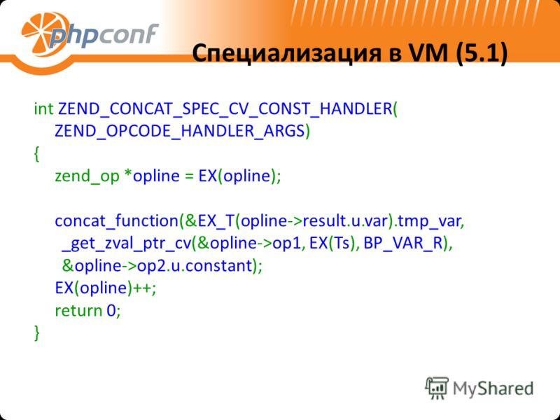 Специализация в VM (5.1) int ZEND_CONCAT_SPEC_CV_CONST_HANDLER( ZEND_OPCODE_HANDLER_ARGS) { zend_op *opline = EX(opline); concat_function(&EX_T(opline->result.u.var).tmp_var, _get_zval_ptr_cv(&opline->op1, EX(Ts), BP_VAR_R), &opline->op2.u.constant);