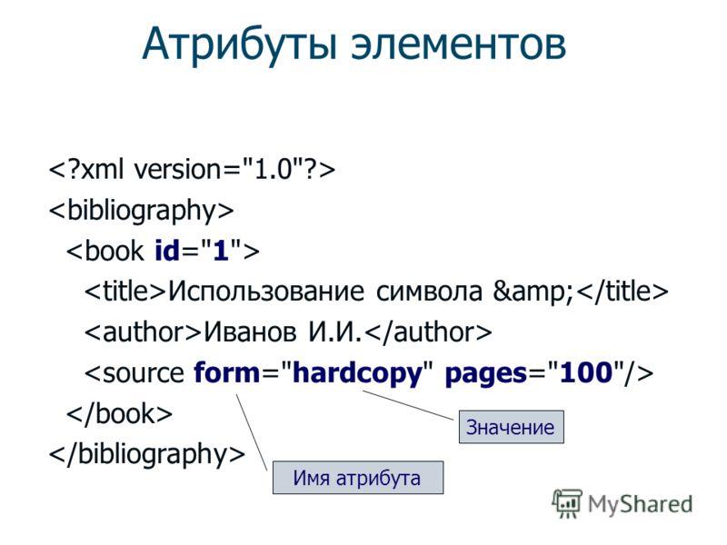 Структура: элементы Элемент Тип элемента Символьные данные Содержимое элемента Пустой элемент Использование символа & Иванов И.И.