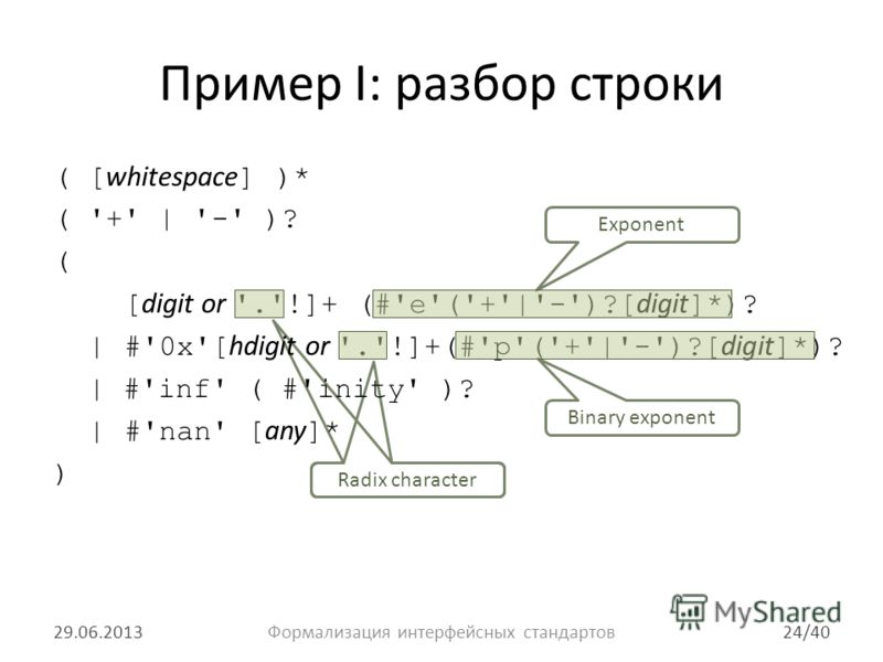 Radix character Пример I: разбор строки ( [ whitespace ] )* ( '+' | '-' )? ( [ digit or '.'!]+ (#'e'('+'|'-')?[ digit ]*)? | #'0x'[ hdigit or '.'!]+(#'p'('+'|'-')?[ digit ]*)? | #'inf' ( #'inity' )? | #'nan' [ any ]* ) 29.06.2013Формализация интерфей