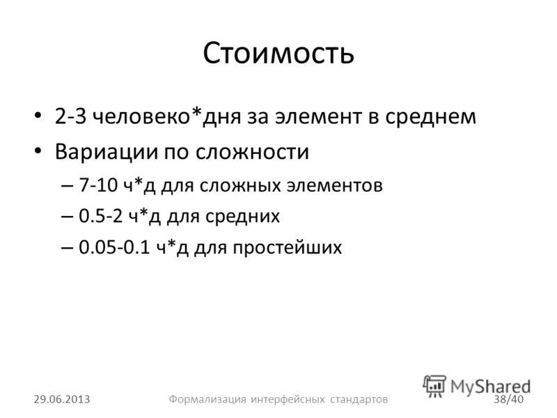 Стоимость 2-3 человеко*дня за элемент в среднем Вариации по сложности – 7-10 ч*д для сложных элементов – 0.5-2 ч*д для средних – 0.05-0.1 ч*д для простейших 29.06.201338/40Формализация интерфейсных стандартов