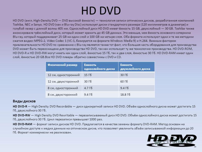 HD DVD HD DVD (англ. High-Density DVD DVD высокой ёмкости) технология записи оптических дисков, разработанная компанией Toshiba, NEC и Sanyo. HD DVD (как и Blu-ray Disc) использует диски стандартного размера (120 миллиметров в диаметре) и голубой лаз