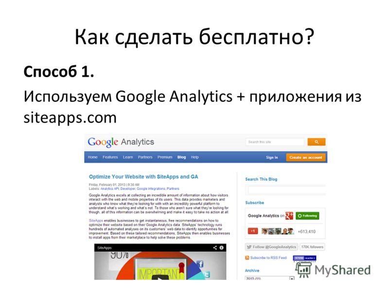 Как сделать бесплатно? Способ 1. Используем Google Analytics + приложения из siteapps.com