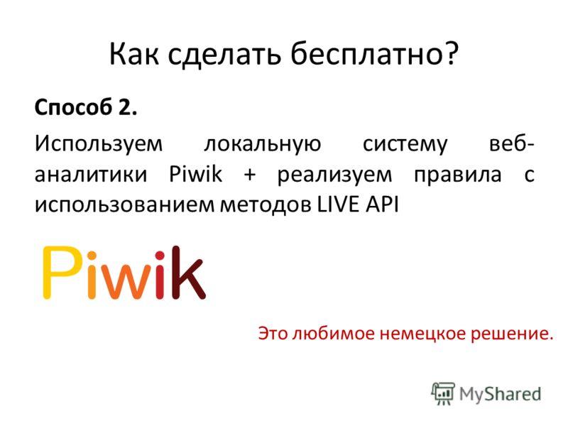 Как сделать бесплатно? Способ 2. Используем локальную систему веб- аналитики Piwik + реализуем правила с использованием методов LIVE API Это любимое немецкое решение.