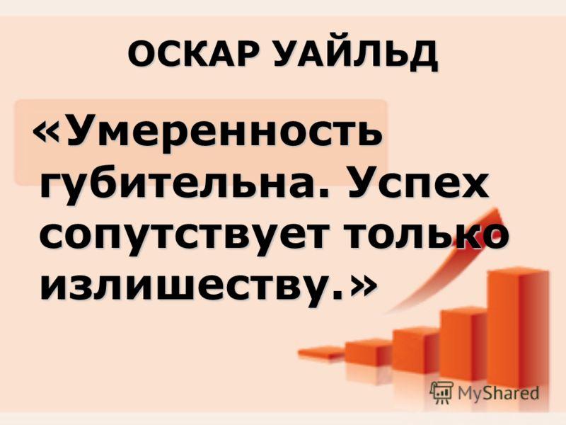 ОСКАР УАЙЛЬД «Умеренность губительна. Успех сопутствует только излишеству.»