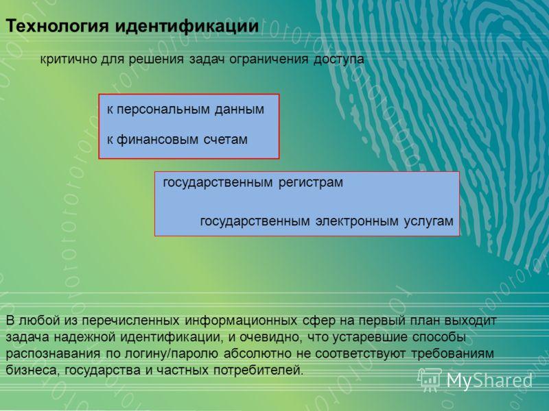 Технология идентификации критично для решения задач ограничения доступа В любой из перечисленных информационных сфер на первый план выходит задача надежной идентификации, и очевидно, что устаревшие способы распознавания по логину/паролю абсолютно не