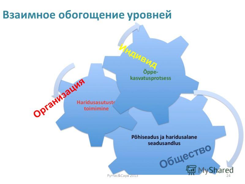 Взаимное обогощение уровней 24Руттас&Сарв 2013 Индивид Организация Общество