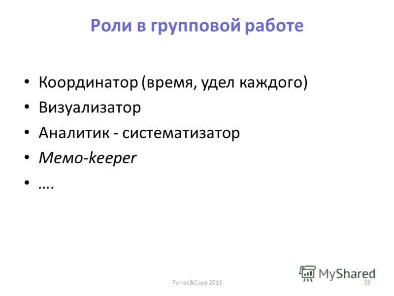 Роли в групповой работе Координатор (время, удел каждого) Визуализатор Аналитик - систематизатор Мемо-keeper …. Руттас&Сарв 201329