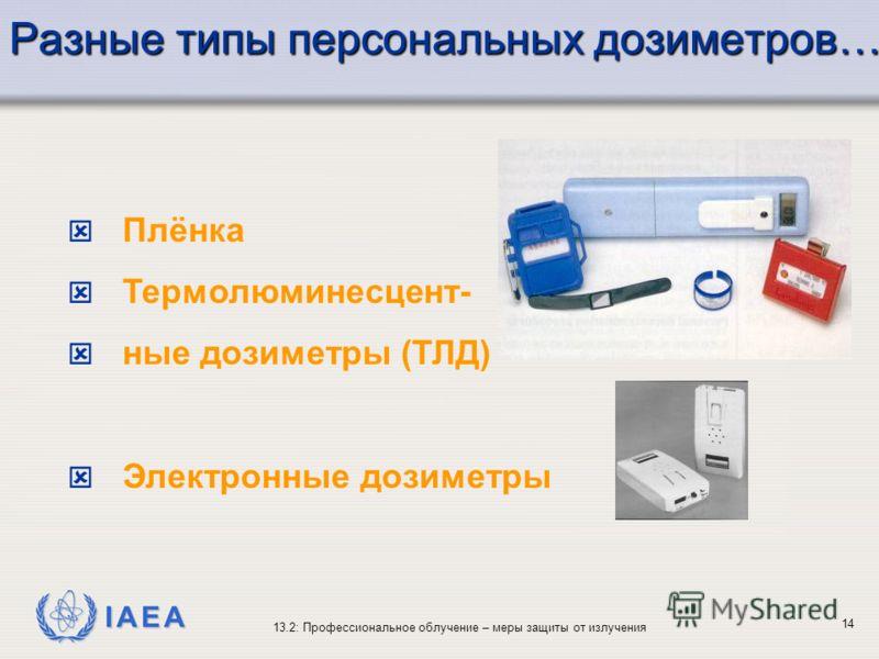 IAEA 13.2: Профессиональное облучение – меры защиты от излучения 14 Разные типы персональных дозиметров… ý Плёнка ý Термолюминесцент- ý ные дозиметры (ТЛД) ý Электронные дозиметры