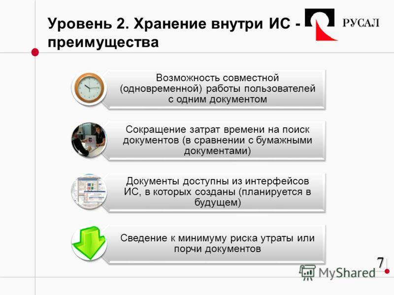 Уровень 2. Хранение внутри ИС - преимущества Возможность совместной (одновременной) работы пользователей с одним документом Сокращение затрат времени на поиск документов (в сравнении с бумажными документами) Документы доступны из интерфейсов ИС, в ко