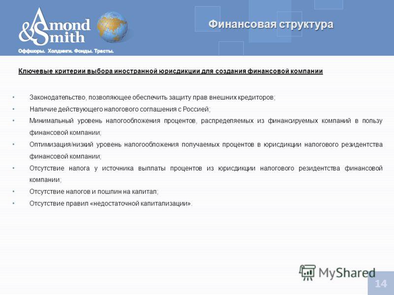13 Финансовая структура Взнос в имущество российской компании Иностранная холдинговая компания может осуществлять безвозмездное финансирование деятельности российской компании в форме взноса в имущество (не в уставный капитал) денежных средств, а так