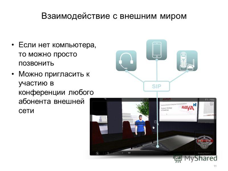 Взаимодействие с внешним миром Если нет компьютера, то можно просто позвонить Можно пригласить к участию в конференции любого абонента внешней сети 11 SIP