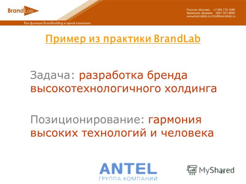 15 Задача: разработка бренда высокотехнологичного холдинга Позиционирование: гармония высоких технологий и человека Пример из практики BrandLab
