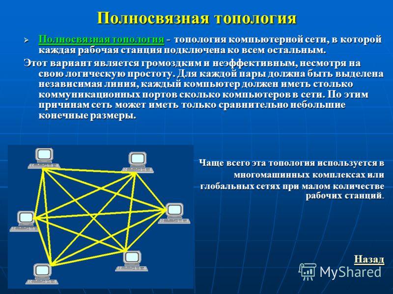 Полносвязная топология Полносвязная топология - топология компьютерной сети, в которой каждая рабочая станция подключена ко всем остальным. Полносвязная топология - топология компьютерной сети, в которой каждая рабочая станция подключена ко всем оста