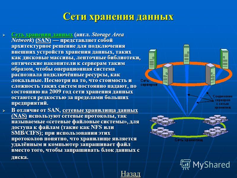 Сети хранения данных Сеть хранения данных (англ. Storage Area Network) (SAN) представляет собой архитектурное решение для подключения внешних устройств хранения данных, таких как дисковые массивы, ленточные библиотеки, оптические накопители к сервера