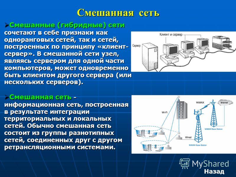Смешанная сеть Смешанные (гибридные) сети сочетают в себе признаки как одноранговых сетей, так и сетей, построенных по принципу «клиент- сервер». В смешанной сети узел, являясь сервером для одной части компьютеров, может одновременно быть клиентом др