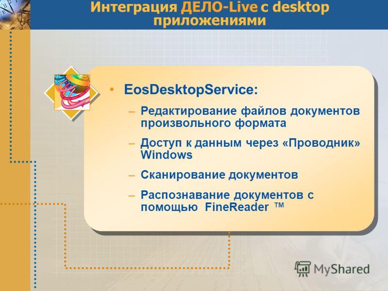 Интеграция ДЕЛО-Live с desktop приложениями EosDesktopService: –Редактирование файлов документов произвольного формата –Доступ к данным через «Проводник» Windows –Сканирование документов –Распознавание документов с помощью FineReader