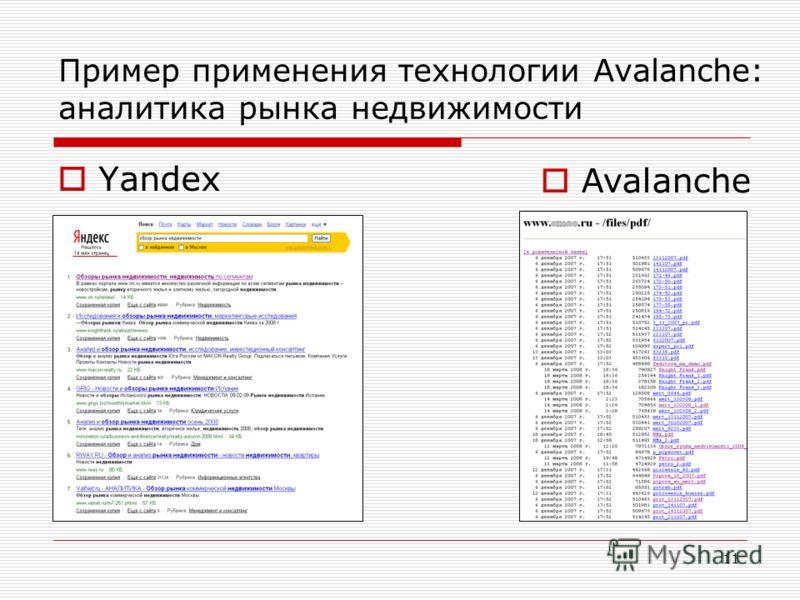 11 Пример применения технологии Avalanche: аналитика рынка недвижимости Yandex Avalanche