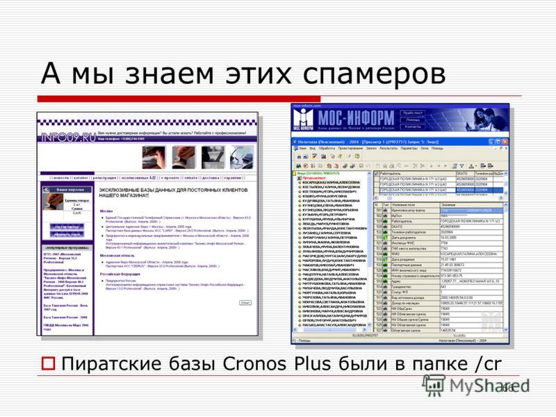 66 А мы знаем этих спамеров Пиратские базы Cronos Plus были в папке /cr