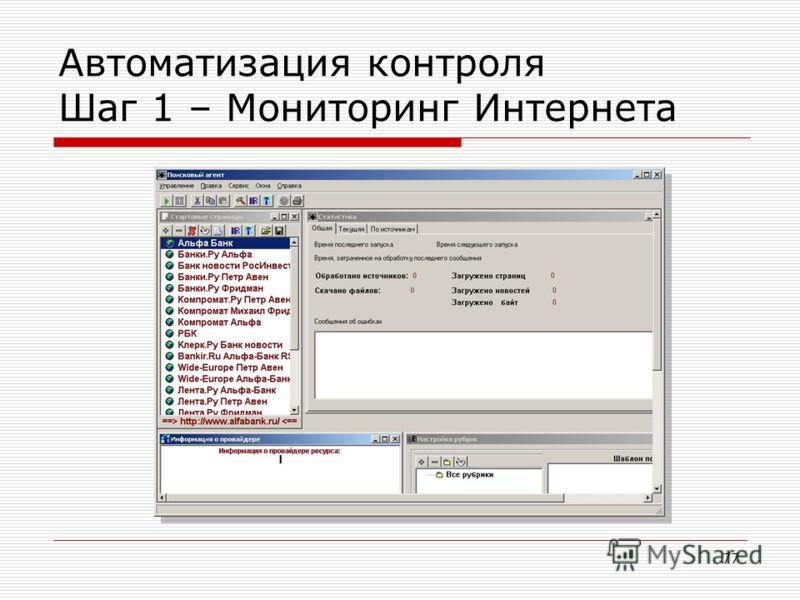 77 Автоматизация контроля Шаг 1 – Мониторинг Интернета