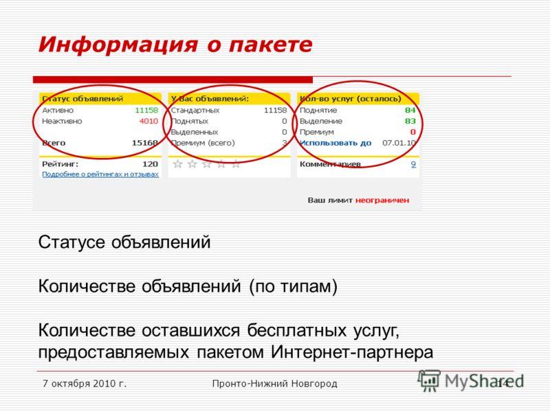 7 октября 2010 г.Пронто-Нижний Новгород14 Информация о пакете Статусе объявлений Количестве объявлений (по типам) Количестве оставшихся бесплатных услуг, предоставляемых пакетом Интернет-партнера